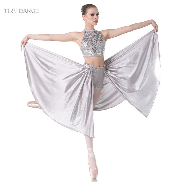 367ed2679 Grey Sequin Lace Over Grey Spandex Crop with Elastic Midriff Ballet ...
