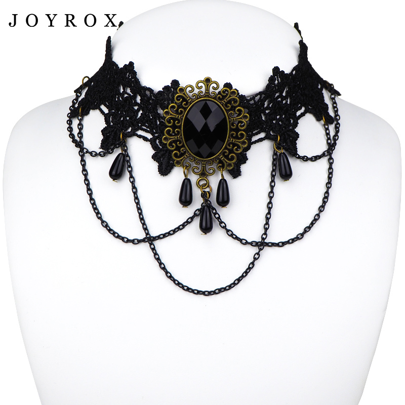 JOYROX Hot Women Chocker Necklace Gothic Style Lace Pendant Wedding Jewelry Ladies Choker Punk Fashion Vintage