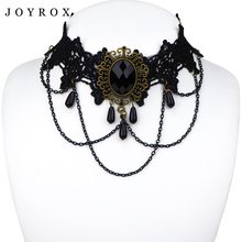 JOYROX Hot Women Chocker Necklace Gothic Style Lace Pendant Wedding Jewelry Ladies Choker Punk Fashion Vintage Tassel Collar