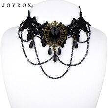 JOYROX Hot Women Chocker Necklace Gothic Style Lace Pendant Wedding Jewelry Ladies Choker Punk Fashion Vintage Tassel Collar
