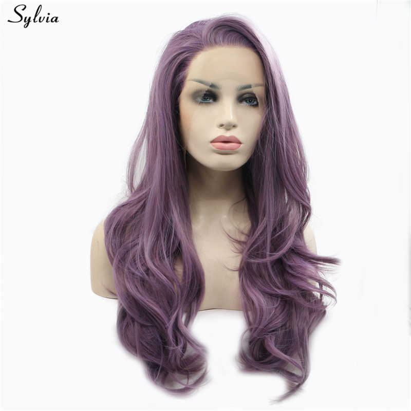 Sylvia Purple Mixed Color Natural Wave Violet Heat Resistant Long Lilac flower Purple Glueless Synthetic Lace Front Wig Newstyle