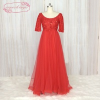 SuperKimJo Half Sleeve Plus Size Prom Dresses For Pregnant Women Lace Applique Elegant Red Evening Gowns