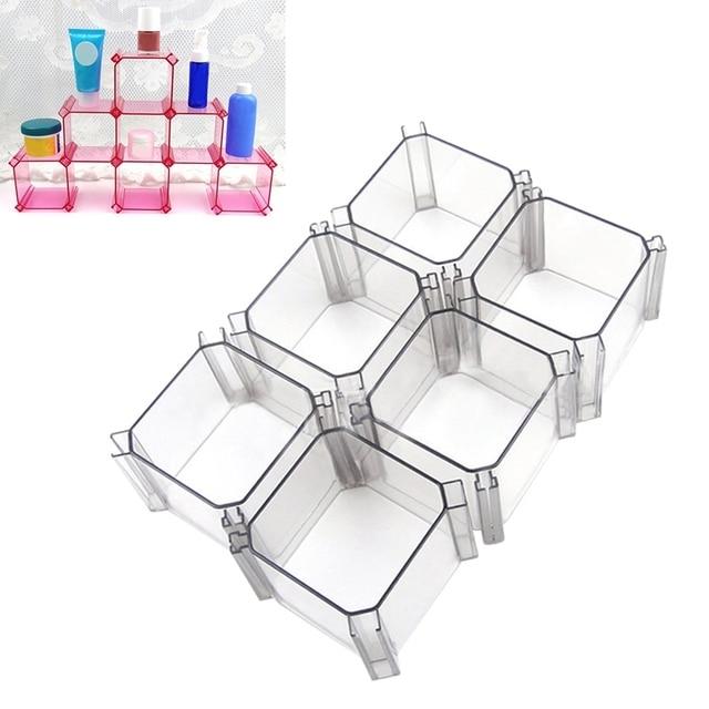 6pcs Jewelry Box Plastic Storage Drawer Dividers Container Diy Socks Tie Organizer Closet Makeup
