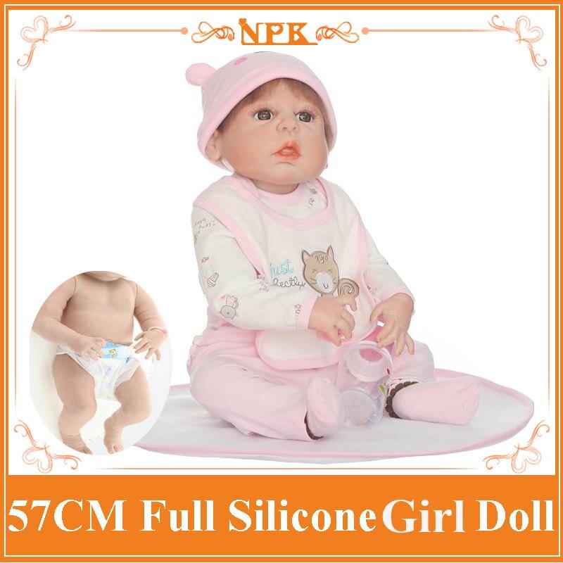 Adorable NPK 57cm Full Silicone Bebe Reborn Girl Doll Bonecas In Cute Clothes Fashion Baby Dolls For Girls As Birthday Gifts npk cute 42cm 17   silicone reborn baby