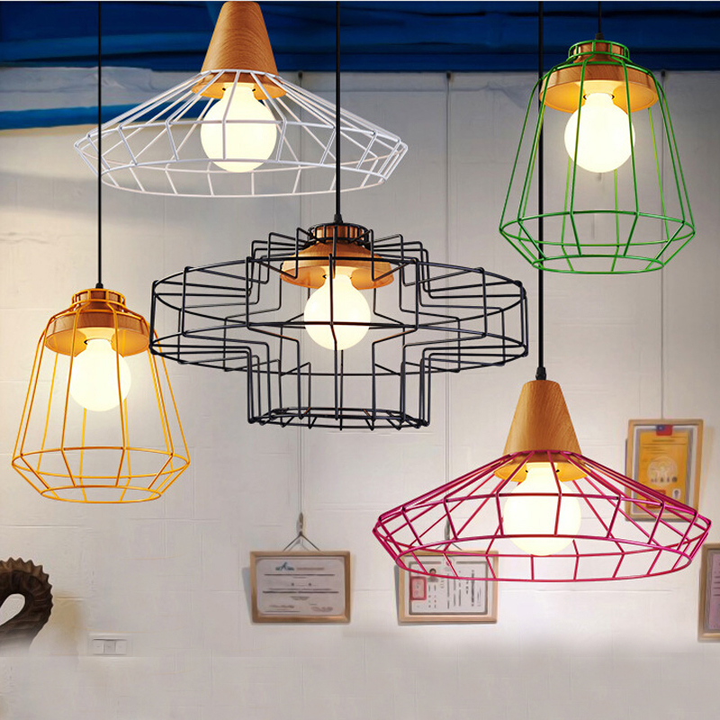 Nordic vintage wrought iron chandelier,colorful metal cage&wood industrial droplight retaurant cafe loft Warehouse hanging lamp
