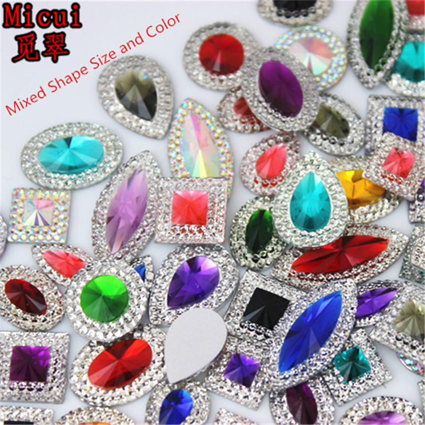 Micui 50pcs Mixed Sizes Shapes Bling Resin Rhinestone Flatback Crystal Stone DIY Wedding appliques Decoration Crafts MC2000 title=