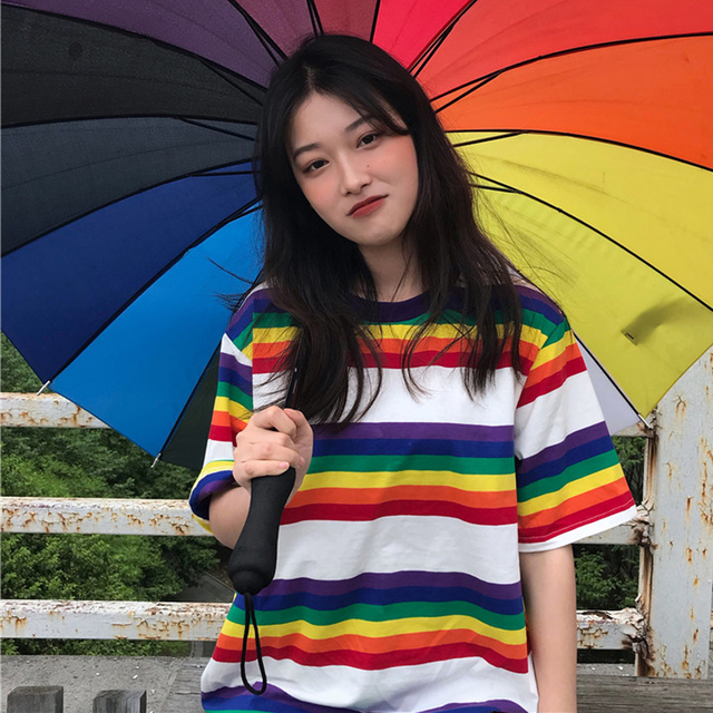 Tee Shirt Woman Summer Tops Korean Ulzzang Harajuku Rainbow Striped T-shirt For Women Short Sleeve Tshirt Female Casual Clothing