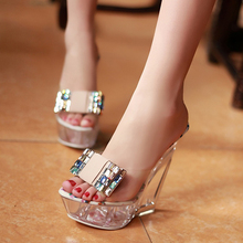 Summer Transparent Crystal Shoe Heels Wedge A Word Procrastinates Sandals Slippers For Women's Shoes