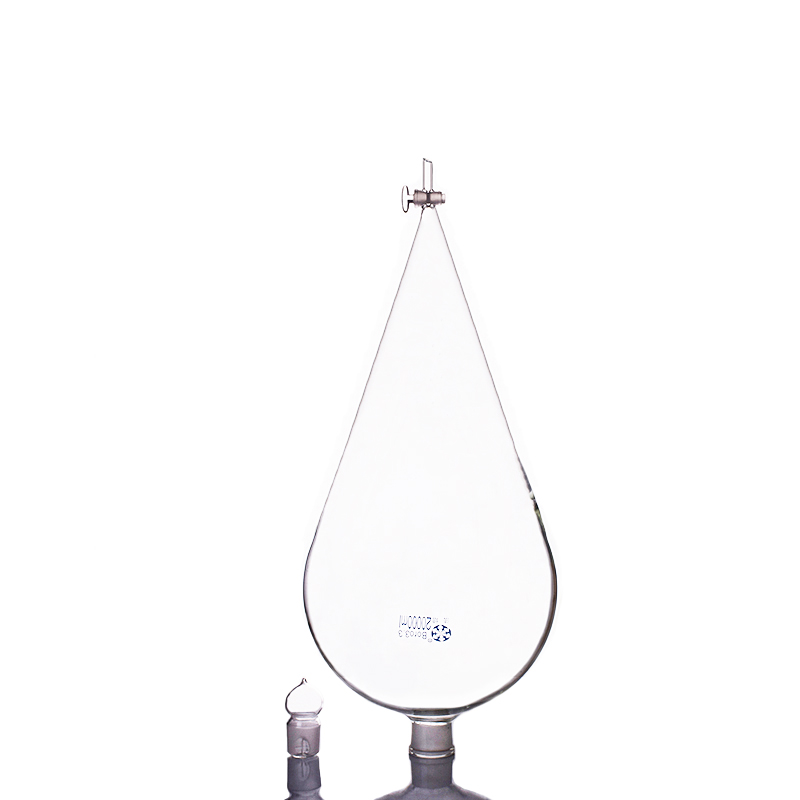 Separatory funnel pear shape,with ground-in glass stopper and stopcock 20000ml,glass switch valve 2pcs lot glass connecting pipe glass tube valve 3 connecting glass piston stopper for shunt