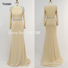 Mermaid-Robe Evening-Dresses Prom-Gowns Crystal-Beading Long-Sleeves Photos Nude-Colors