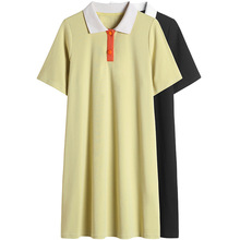 Plus Size Dress Summer For Women 100kg 2019 New Hit Color Polo Collar Short Sleeves Loose Knitted 100% Cotton Dress Knee Length chicever knitted irregular summer dress female short sleeve perspective hit colors loose big size black dresses for women new