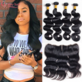 13x4 Ear To Ear Lace Frontal Closure With Bundles 4 PCS Brazilian Virgin Hair With Frontal Closure Brazillian Body Wave Closure