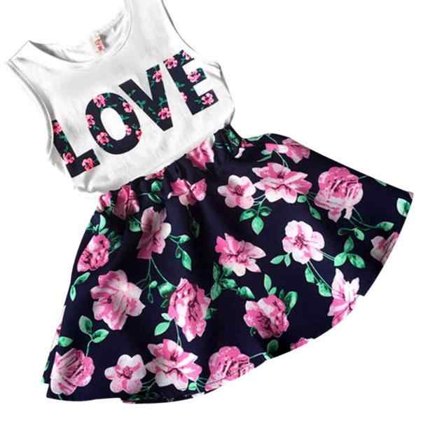 English letter top sleeveless printed short skirt suit cut Girls LoveLetters Printed Sleeveless Vest Floral Skirt Set Clothes F4