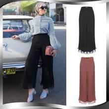Pantalon plissé en mousseline de soie pour femmes, couleur unie, taille haute, jambes larges