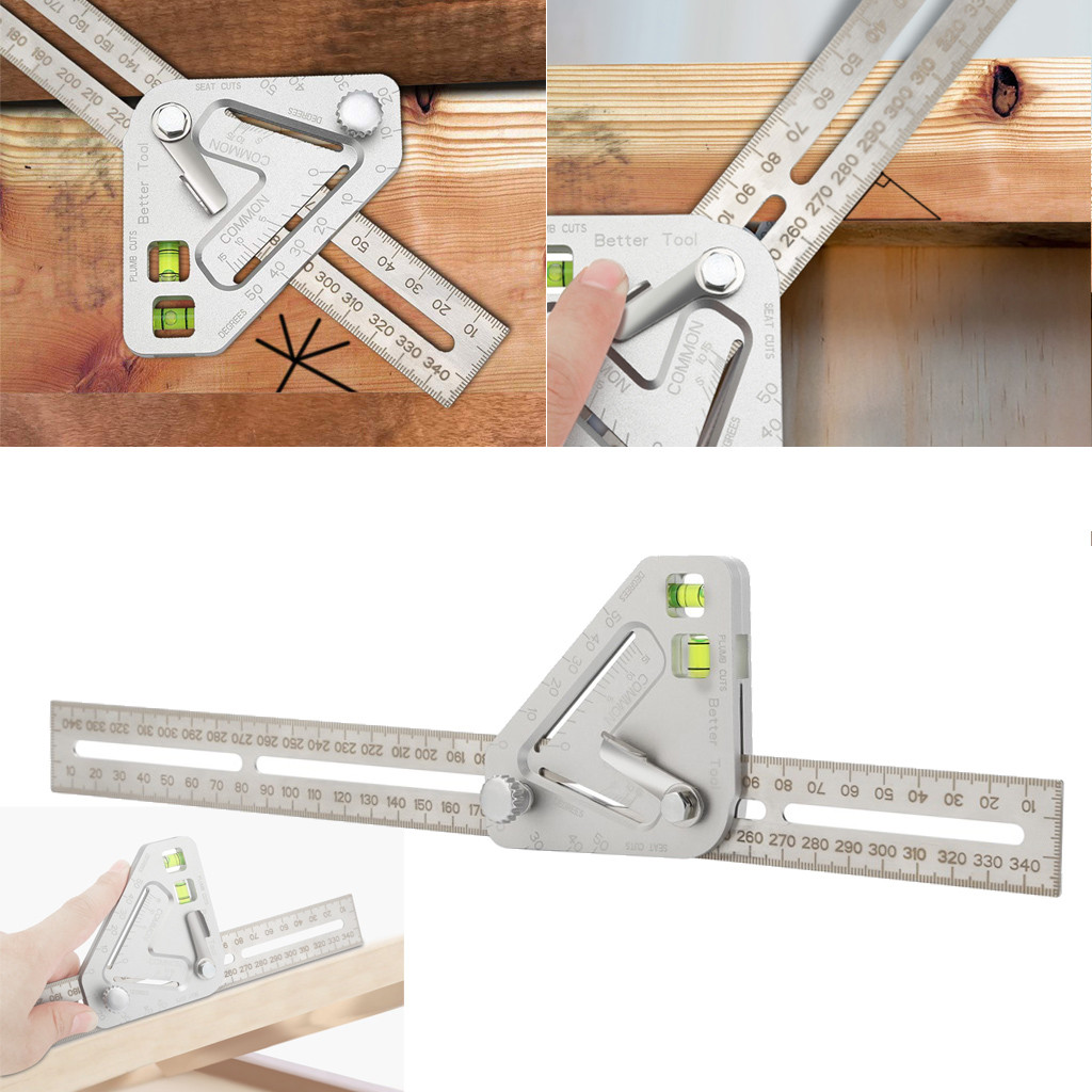Practical Roof Revolutionizing Carpentry Utensil Multi-function Measuring Tool Angle Ruler Protractor Carpenter Tools 34