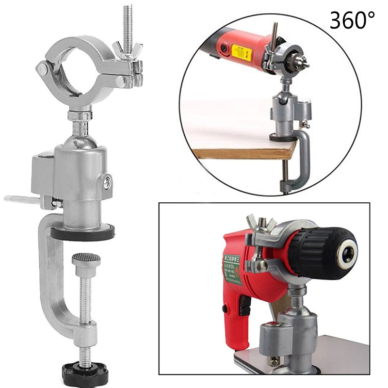 360 Degrees Clamp-on Grinder Holder Bench Vise Electric Drill Stand Rotate Tools 1pc multifunctional 360 degree aluminum electric grinding bench clamp vise mini drill accessory