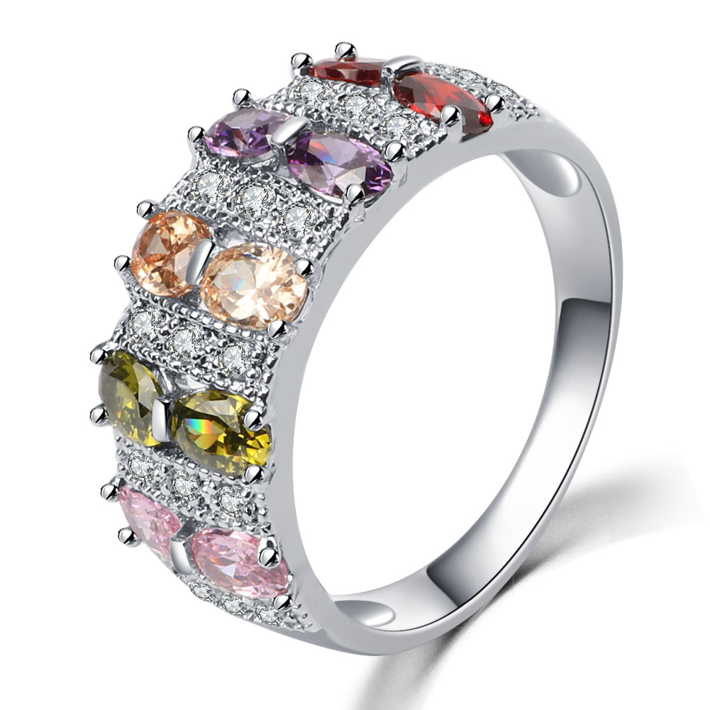 Newest Exquisite Jewelry Finger Ring With Colorful Stone Zircon Engagement  Rings For Women Crystal Fashion Jewelry Best Gifts