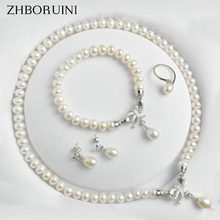 ZHBORUINI Pearl Jewelry Sets Natural Freshwater 925 Sterling Silver Jewelry Bow Pearl Necklace Earrings Bracelet For Women Gift(China)