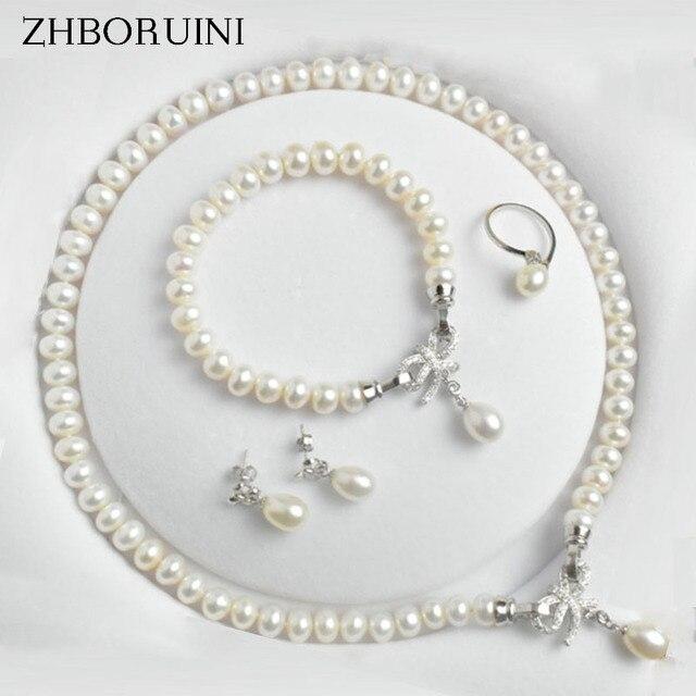 898ec6bdf ZHBORUINI, juegos de joyería, Perla de agua dulce Natural de la joyería de  la