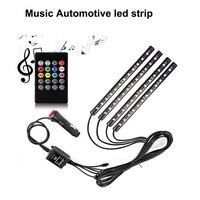 Homeyard música coche luz de tira llevada, 4 unids 48 LED DC 12 V Multicolor Música Kit de Iluminación Interior Del Coche Luz LED Debajo del Tablero
