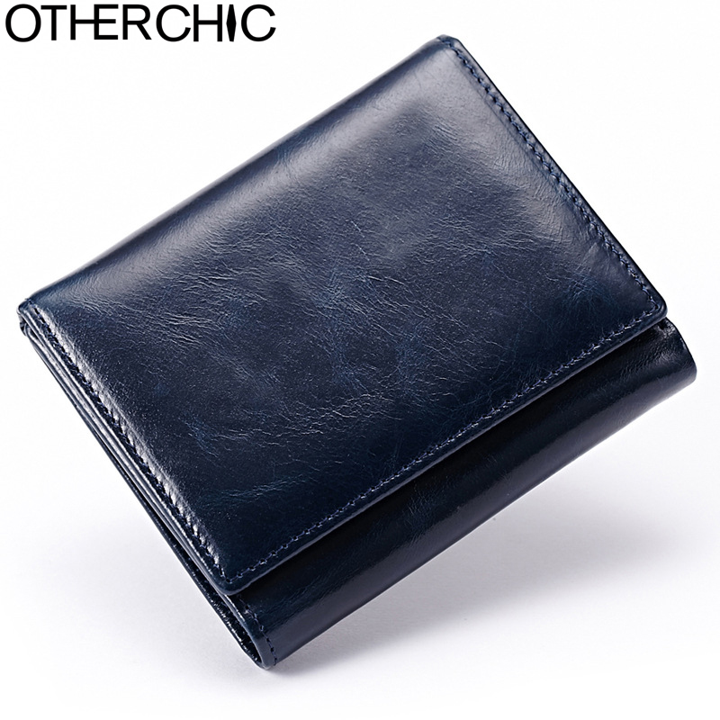 OTHERCHIC Vintage Small Men Wallet Real Leather Women Short Wallets Coin Pocket Card Wallet Female Purses Money Clip 5N12-11 vintage genuine real leather women short wallets small soft wallet zip coin pocket card wallet female purses money clip 6n12 43