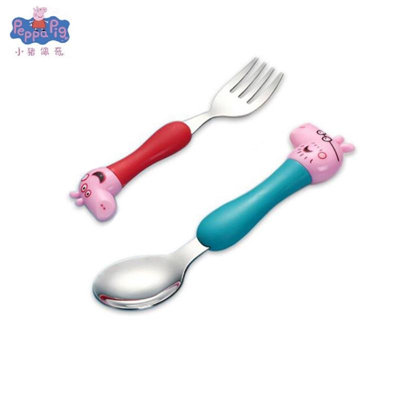 Новинка, Оригинальная Повседневная столовая ложка со Свинкой Пеппой, вилка, детская посуда, милая мультяшная модель, набор ложек, детские подарки на день рождения - Цвет: 5