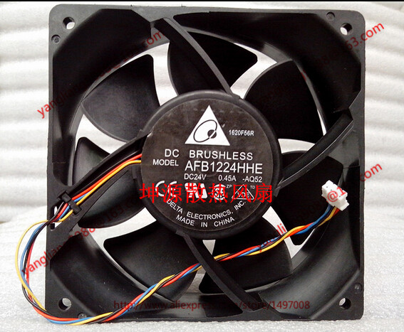 Free Shipping For DELTA AFB1224HHE, -AQ52 DC 24V 0.45A, 120x120x38mm 50mm, 4-wire 4-pin connector Server Square Cooling Fan free shipping for delta afc0612db 9j10r dc 12v 0 45a 60x60x15mm 60mm 3 wire 3 pin connector server square fan