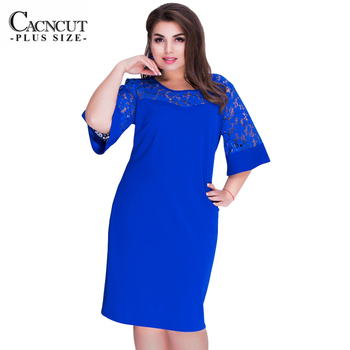 2020 Women's dresses Big Size Lace Patchwork Dress Female Large Plus Size Tunic Dress Summer Ladies Office Work Vestido Clothing