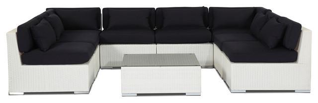 exterior jardn muebles modernos sof unidades conjunto mimbre blanco azul marino