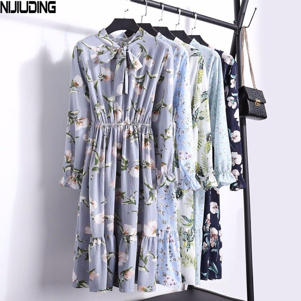 2018 New Floral Chiffon Dress Female Spring Autumn Women Long Sleeve Dresses Fashion Casual Print Bow High Elastic Waist Dress
