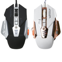 Professional 3200DPI Adjustable 8 Button Optical Programmable 4 Cool LED Light Effect Ergonomic Wired Gaming Mouse