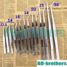 Aquarium Stainless Steel Tweezers Medical Tools 12.5cm 14cm 16cm 18cm 20cm 25cm 30cm Straight Curved Head Forceps 100pcs/lot