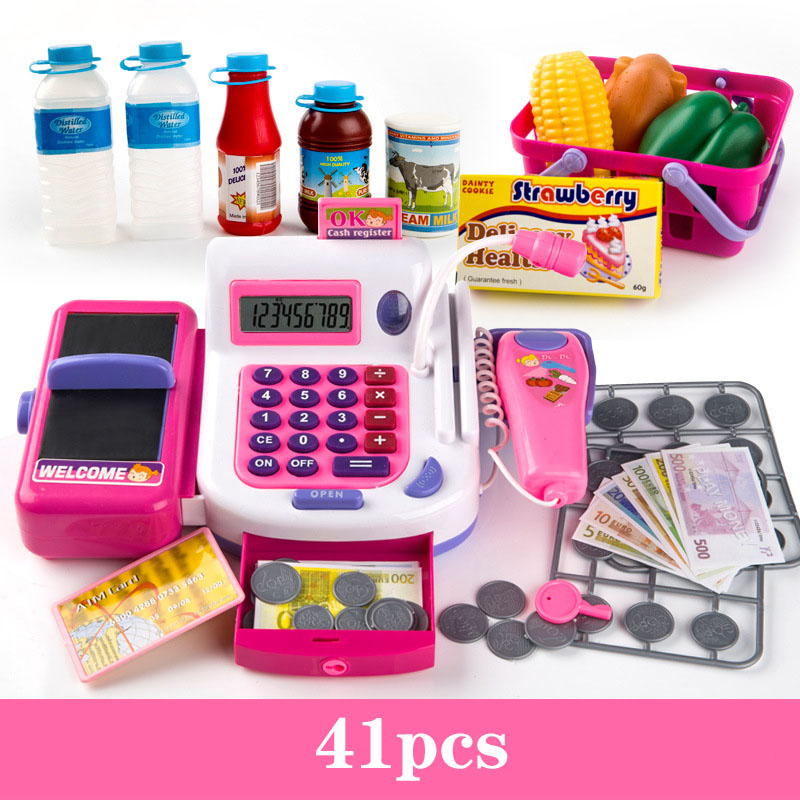 41 PCS Simulação das Crianças Supermercado Caixa Registadora Sorvete Checkout Menina Presente Para As Crianças Brincar de Casinha de Brinquedo Interativo