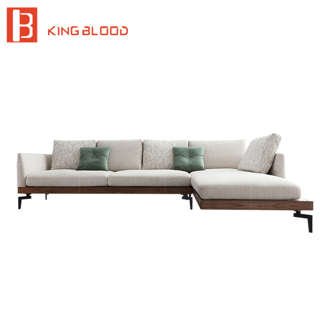 3 seater L shape modern wooden designs fabric sofa chair with ...