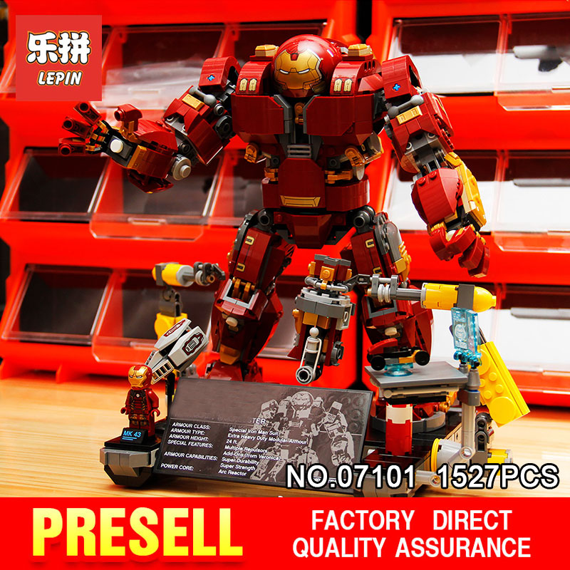 Lepin 07101 1527Pcs Super Genuine Hero Compatible with 76105  Iron Man Anti Hulk Mech Toy Building Bricks Blocks Model for boy compatible with lego marvel lepin 38005 328pcs super heroes movie iron man ironman mech building blocks bricks toys for children