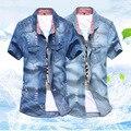 Новые мужские Джинсовые Рубашки Хлопка Slim Fit Бренд Случайные Джинсовые Рубашки С Коротким Рукавом Ковбой Рубашка Camisa Masculina Несколько стили