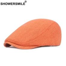 SHOWERSMILE Flat Caps for Men Cotton Linen Duckbill Ivy Cap Women Vintage Solid Orange Casual Autumn Beret Cabbie Unisex