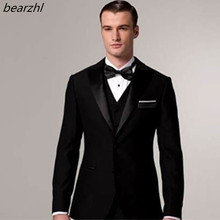 beach tuxedo slim fit custom made suit men dinner 3 piece suits groom wear 2019