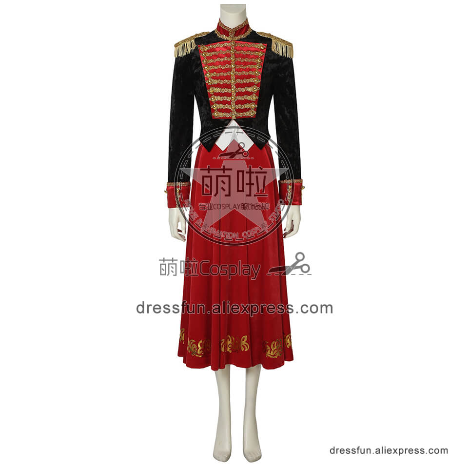 The Nutcracker and the Four Realms Cosplay Clara Costume Red Dress Outfits Full Set Halloween Fashion Party Fast Shipping