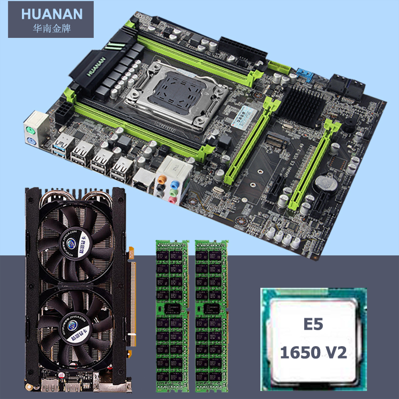 Brand HUANAN ZHI X79 motherboard with M.2 slot CPU <font><b>Intel</b></font> <font><b>Xeon</b></font> <font><b>E5</b></font> <font><b>1650</b></font> <font><b>V2</b></font> 3.5GHz RAM 16G(2*8G) 1600 RECC GPU GTX760 4G Video card image