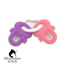 Baby Teething Keys Ring, Safe Silicone Toys, BPA  Free, Freezer & Dishwasher Safe (Pink/Purple or Blue/Green)