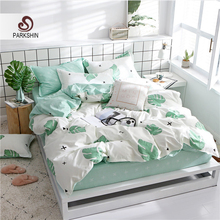 ParkShin Bedding Elastic Sheet Set Green Leaf Fashion Nordic Duvet Cover Bed Linen Rubber Pillowcases Home Textiles