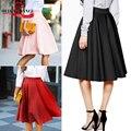 Vintage mujeres elástico de cintura alta skater evasé plisado swing falda larga