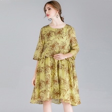 Spring Dresses Lady Plus Size 2019 Women Oversized Flower Print Ruffles Three Quarter Sleeve Loose Party  Dress Female 4XL