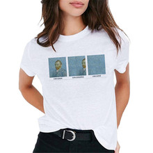 Van Gogh Oil Art женская футболка с принтом Футболка Женская Топ Повседневная новая уличная футболка графическая футболка в стиле Харадзюку Femme