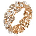 Bella Gold Plated Simulated Pearl Bridal Bangle Austrian Crystal Bracelet for Women Bridesmaid Jewelry Bangle Party Jewelry