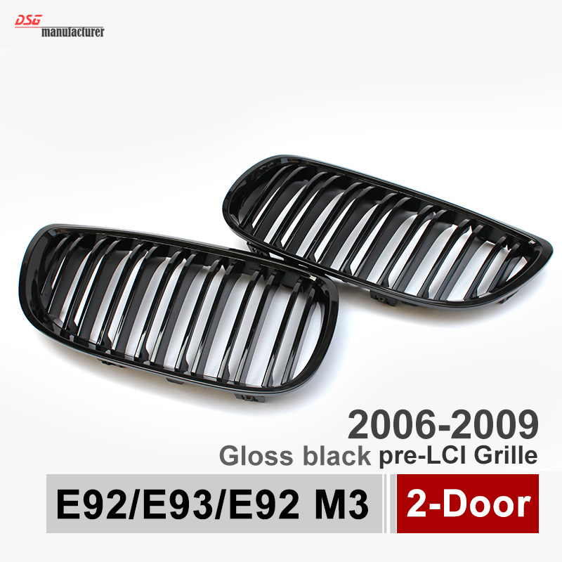 2-slat gloss black front kidney grill grille for bmw 3 series e92 e93 e92 m3 pre-lci 2006 - 2009 2-door coupe cabriolet abs mesh 4 series f32 f33 f36 front bumper grill gloss black abs car styling grille for bmw f80 m3 f82 f83 m4 replacement car part
