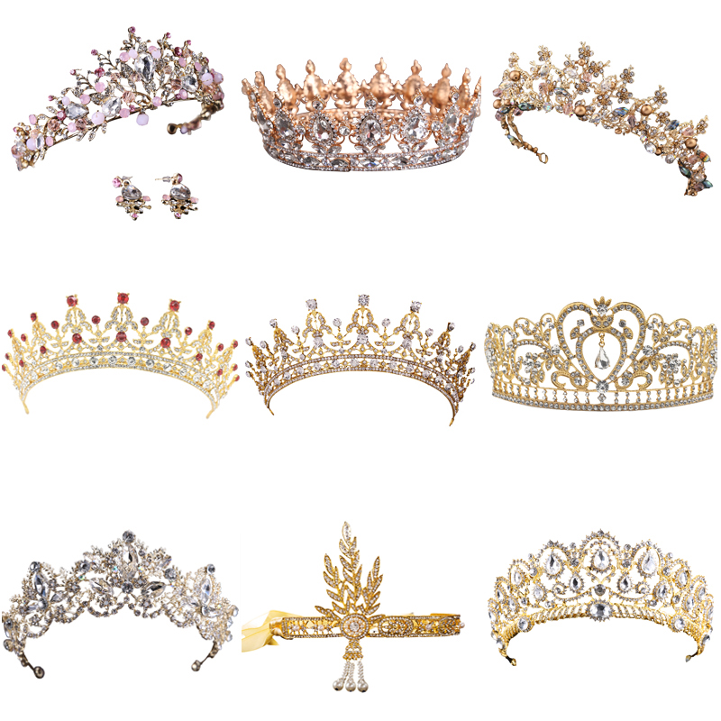 Hot Sale Gold Crystal Tiara Crown For Wedding Hair Accessories Princess Queen Wedding Crown Rhinestones Bridal Hair Jewelry ...