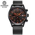 Ochstin top malha relógios de marca de luxo homens de aço inoxidável relógio de pulso de quartzo casual relógios esporte relógio militar relógio preto