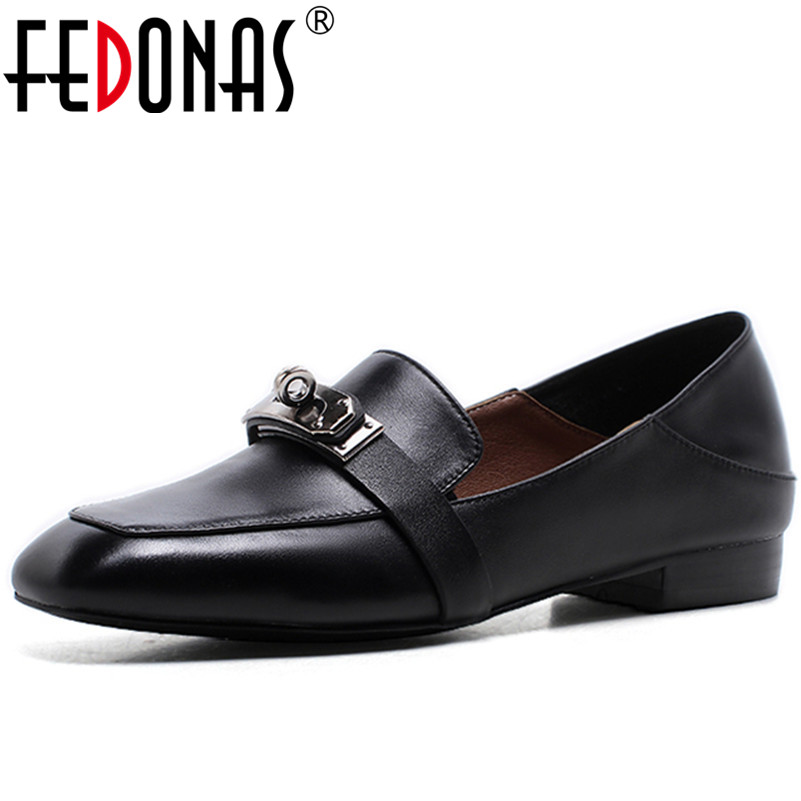 FEDONAS Fashion Women Genuine Leather Loafter Shoes New High Quality Four Season Casual Flats Heels Shoes Woman Large Size 34-42 plue size 34 49 spring summer high quality flats women shoes patent leather girls pointed toe fashion casual shoes woman flats
